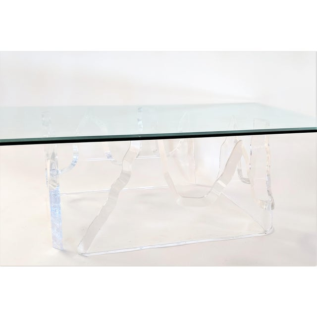 Lion in Frost Style Lucite Iceberg Coffee 2-Piece Table Base For Sale - Image 12 of 13