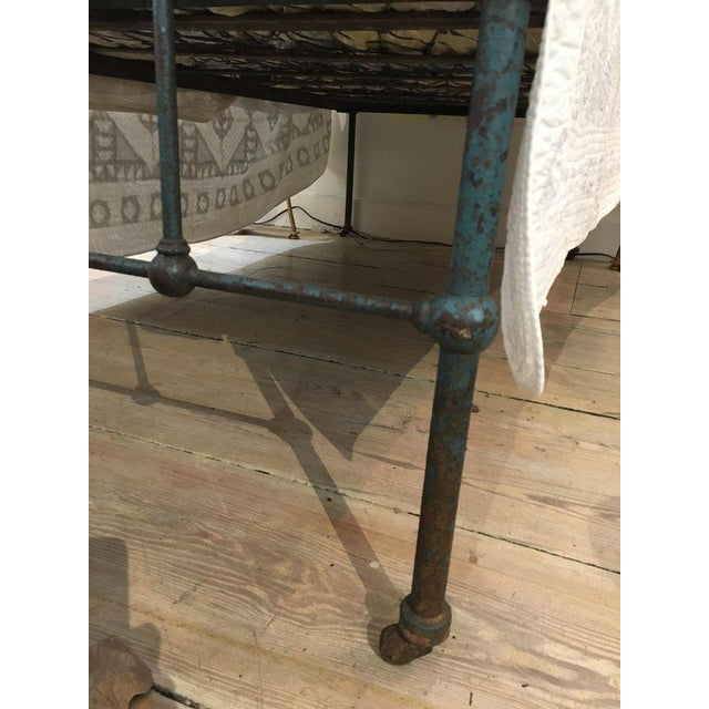Iron Twin Bed With Original Blue Paint, 1930s For Sale - Image 4 of 10