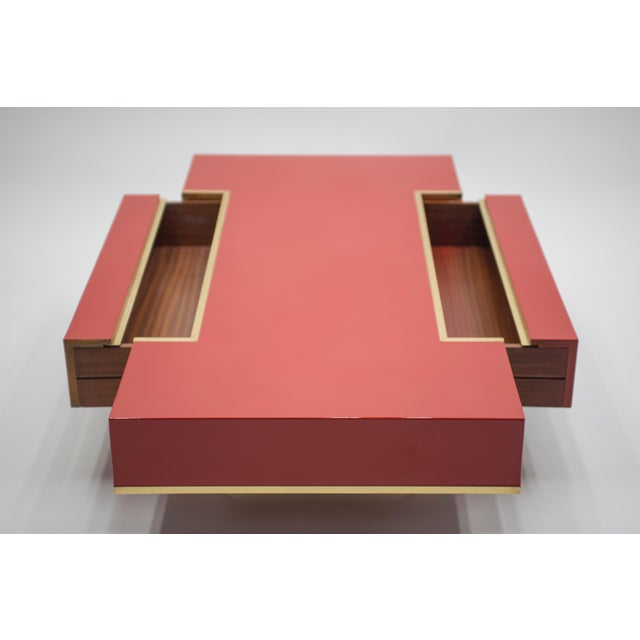 Metal Rare j.c. Mahey Red Lacquer and Brass Coffee Table, 1970s For Sale - Image 7 of 13