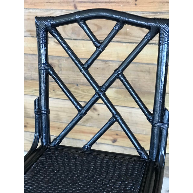 Coastal Regency Rattan Black Lacquered Chinese Chippendale Chairs-A Pair For Sale - Image 6 of 10
