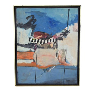 Vintage Mid-Century Modern Abstract Oil Painting Signed Lumak