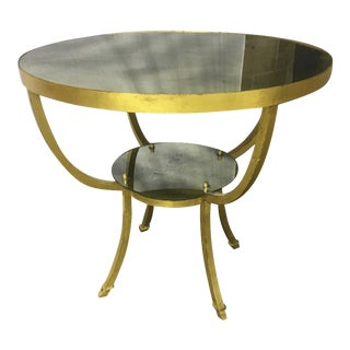 Rene Prou Charming 2 Tier Gold Leaf Wrought Iron Center or Dining Table For Sale