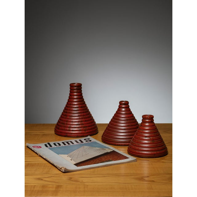 Modern Set of 3 Ceramic Vases by Il Punto For Sale - Image 3 of 4