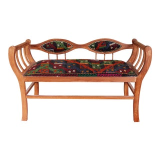 Solid Wood Kilim Covered Settee For Sale
