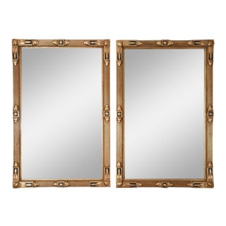 Vintage Matching Giltwood Frame Hanging Wall Mirrors - a Pair For Sale