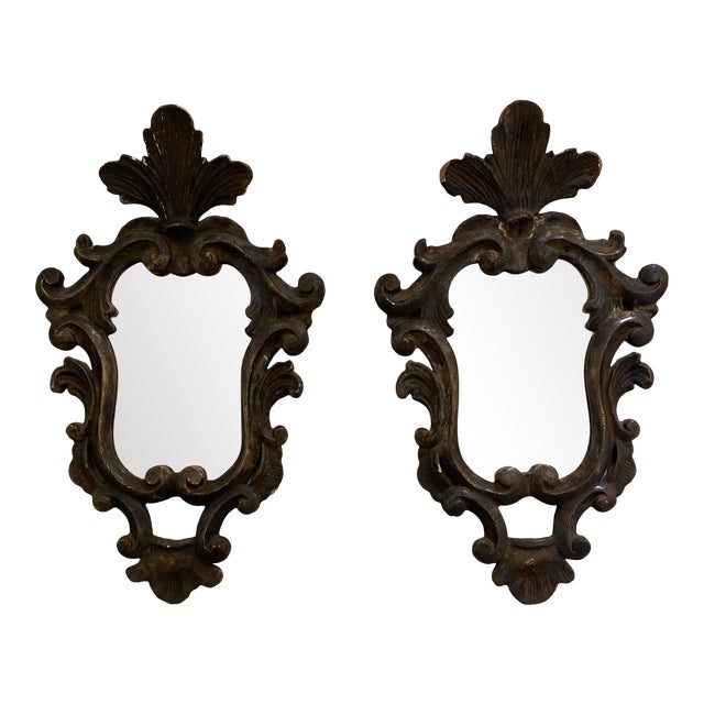 Vintage Wooden Shield Mirrors - a Pair For Sale