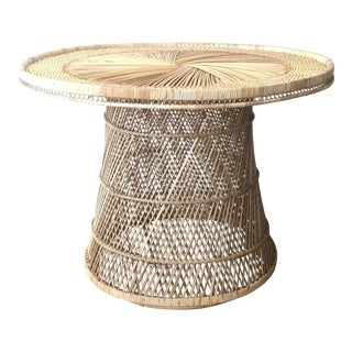 1970's Boho Chic Wicker Dining Table