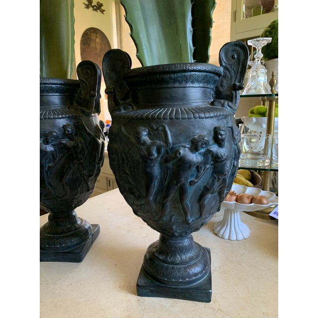 Neoclassical Vintage Plaster Greek Amphore Urns - a Pair For Sale - Image 3 of 13