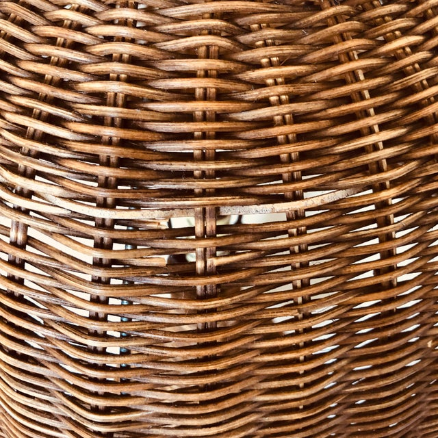 Mid 20th Century Vintage Wicker Table Lamp For Sale - Image 5 of 8