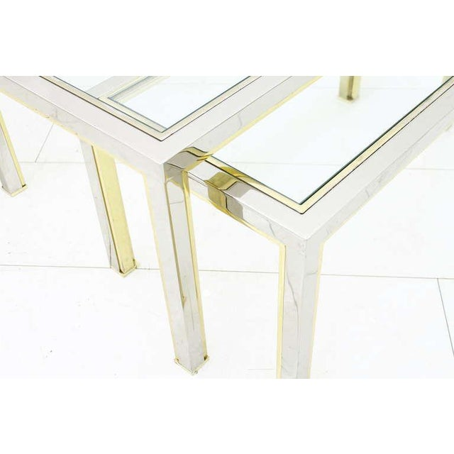 Metal Set of Three Tables, Glass and Metall, France 1970`s For Sale - Image 7 of 8