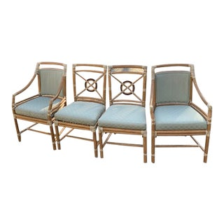 1980s McGuire Target Back Chairs, 2 Arm and 2 Side - Set of 4 For Sale