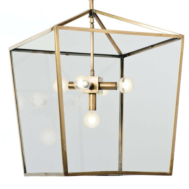 Transitional Camden Lantern (Natural Brass) For Sale - Image 3 of 5