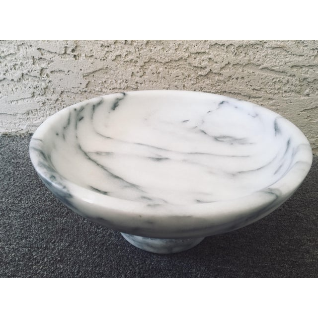 1980s Vintage White and Black Marble Compote For Sale - Image 5 of 11