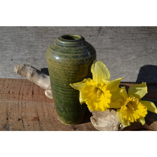 Vintage Hand Thrown Pottery Vase, Green - Image 5 of 9