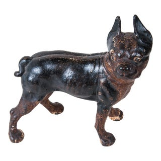 Early 20th Century Cast Iron French Bulldog, Room Accessory, Decorative, Original Paint, Very Expressive Dog For Sale