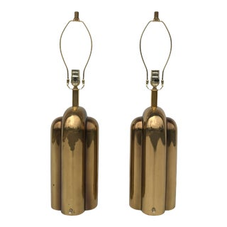 Art Deco Style Brass Lamps - a Pair For Sale