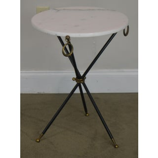 Tripod Mid Century Regency Style Round Marble Top Side Table After Robsjohn Gibbings Preview