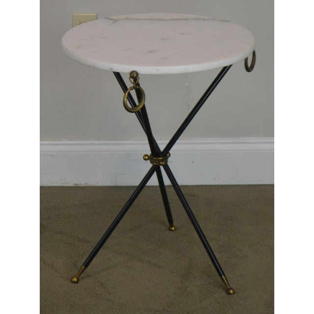 High Quality Metal & Brass Tripod Side Table with Brass Accents Unsigned Maker in the Style of T.H. Robsjohn Gibbings
