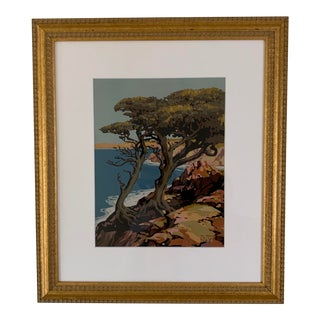 """The Comrades"" California Coastal Monterey Cypress Screenprint For Sale"