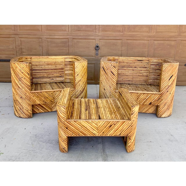 Stacked Bamboo Club Chairs and Ottoman in the Manor of Gabriella Crespi - Set of 3 For Sale - Image 10 of 10
