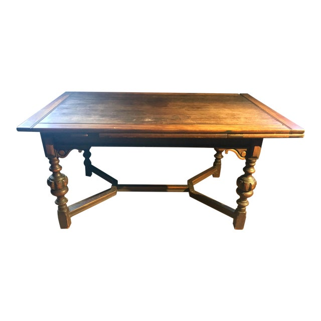 """62""""-96"""" Jacobean Dining Table With Breadboard Extensions For Sale"""