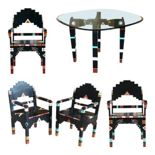 20th Century Boho Chic Sculptural Wooden Dining Set – 5 Pieces For Sale