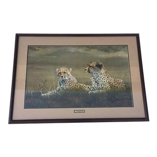 "Vintage Cheetah Art Print Safari Hollywood Regency Charles Frace 40"" For Sale"