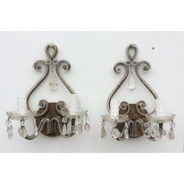 Brown Rock Crystal Silvered & Beaded Metal Sconces - A Pair For Sale - Image 8 of 8