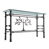 Image of 1970s Giacometti Style Welded Metal & Glass Console Table For Sale
