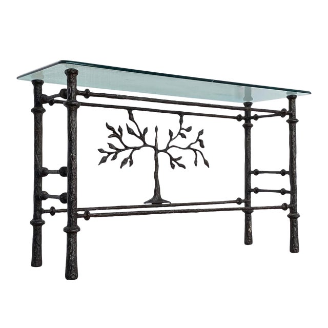 1970s Giacometti Style Welded Metal & Glass Console Table For Sale