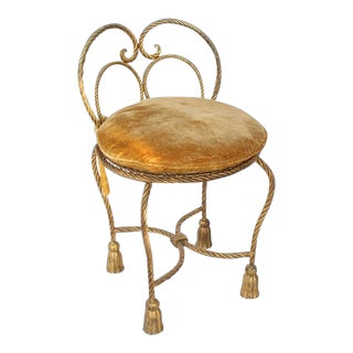 1950s Vintage Gold Gilt Iron Rope Tassel Upholstery Vanity Chair For Sale