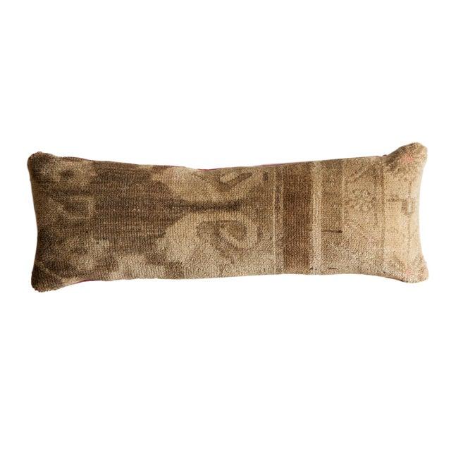 Tan Reclaimed Vintage Turkish Rug Fragment Lumbar Pillow For Sale - Image 8 of 8