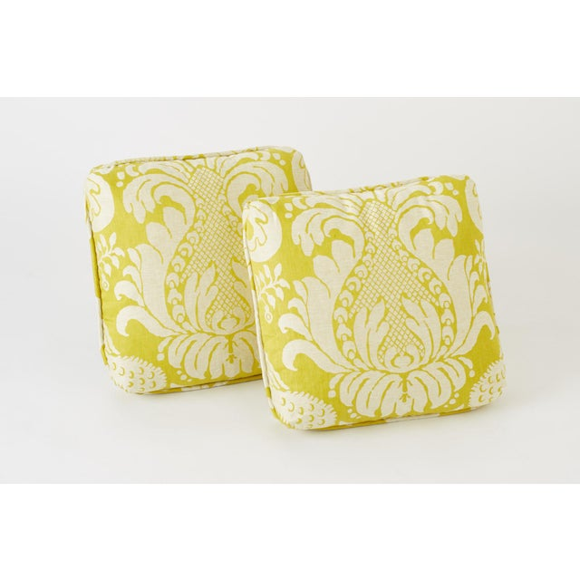 Contemporary Schumacher Anna Damask Acid Green Square Pillow 18x18- Pair For Sale - Image 3 of 8