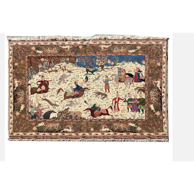 1970s Traditional Qum Hunting Rug For Sale - Image 5 of 5