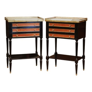 Pair of Vintage French Louis XVI Bedside Tables Nightstands With Marble Top For Sale