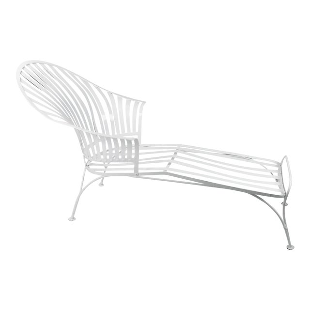 Francois Carre Vintage Fan Back Patio Chaise Lounge For Sale