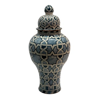 White & Green Moroccan Lidded Jars For Sale