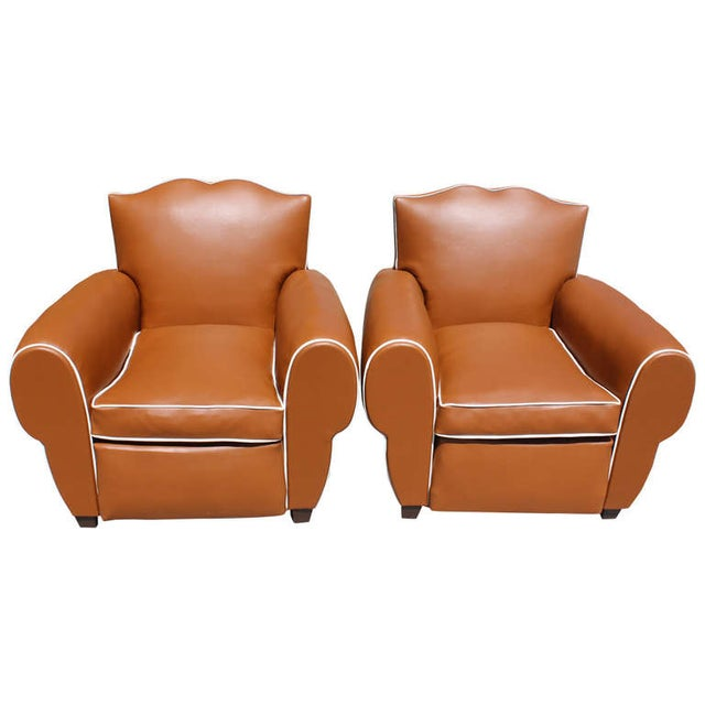 French Art Deco Vinyl Club Chairs - A Pair - Image 1 of 7