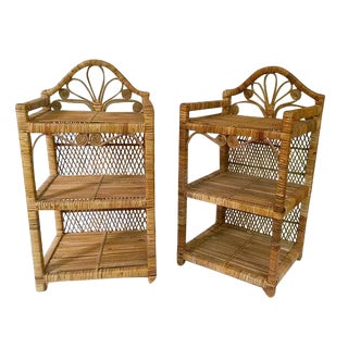Mid Century Rattan End Tables - A Pair For Sale