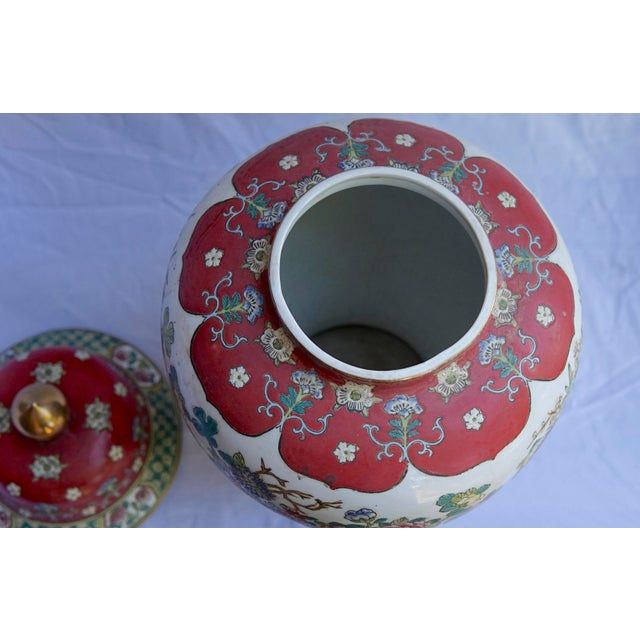 Red Vintage Fuchsia, White & Green Ginger Jar Vase With Lid For Sale - Image 8 of 12