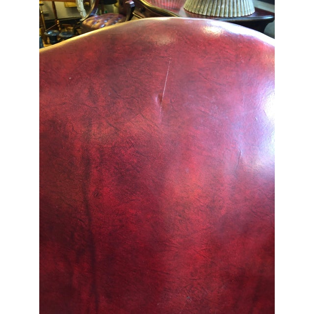 1950s Vintage Maroon Leather Wingback Chair For Sale In Philadelphia - Image 6 of 13