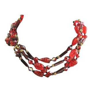 Vintage Red Art Glass Multi Strand Choker Necklace For Sale