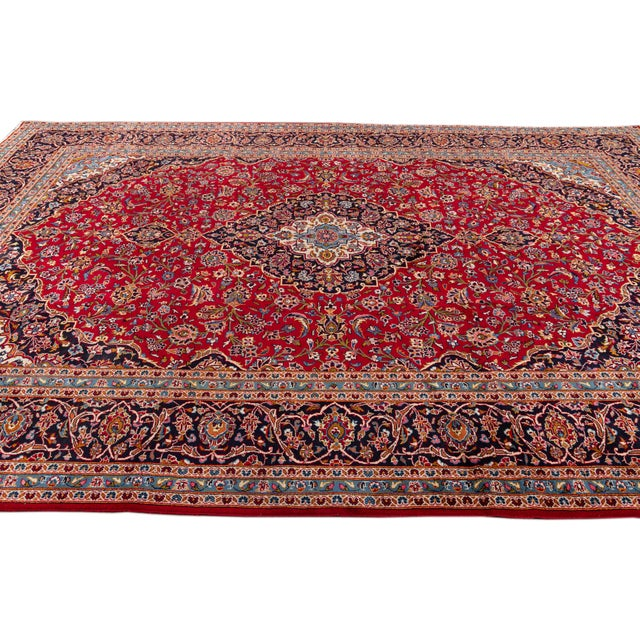 "Red Vintage Persian Kashan Rug, 9'8"" X 13'1"" For Sale - Image 8 of 10"