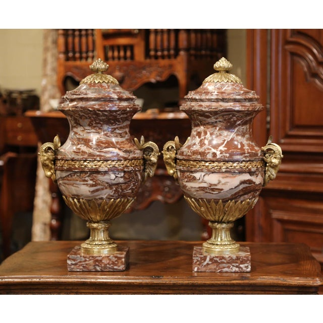 Late 19th Century 19th Century French Carved Variegated Marble and Bronze Cassolettes-A Pair For Sale - Image 5 of 12