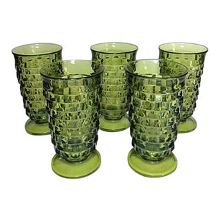 1960s Vintage Colony Whitehall Green Iced Tea Goblets - Set of 5 For Sale