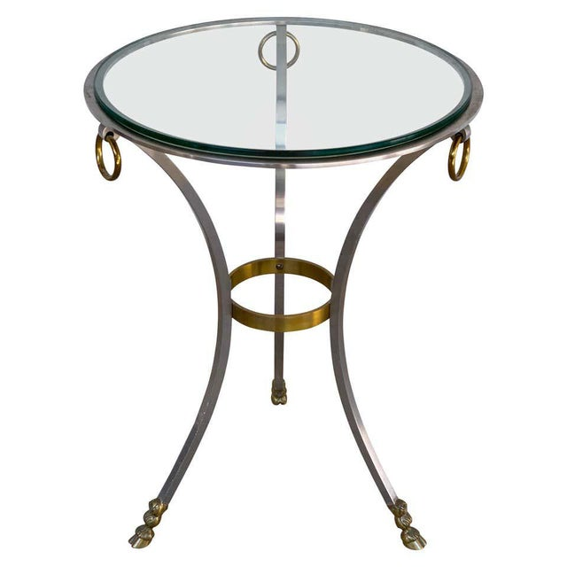Maison Jansen Neoclassical Steel and Brass Gueridon For Sale - Image 11 of 11