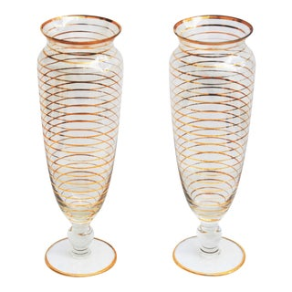 Vintage Depression Glass Vases With Gold Banding - Pair