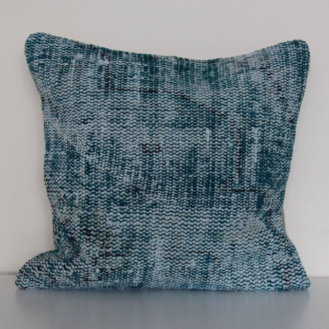 1970s Large Over Dyed Distressed Teal Turquoise Hand-Knotted Rug Pillow For Sale - Image 5 of 5