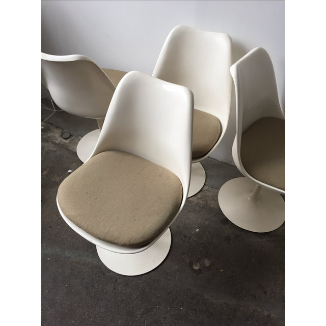 Knoll White Vintage Tulip Swivel Chairs - Set of 4 - Image 3 of 9