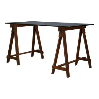 Glass Dining Table W/Early 20th C. Douglas Fir Sawhorses C.1910 For Sale